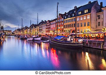 Copenhagen Denmark - Nyhavn Canal in Copenhagen, Demark.