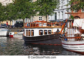 Copenhagen, Denmark - Yachts in the channel, Copenhagen,...
