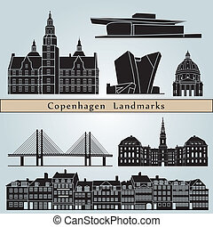 Copenhagen landmarks and monuments isolated on blue...