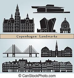 Copenhagen landmarks and monuments isolated on blue...