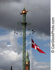 Copenhagen Sky - Fairground fun fair in Tivoli gardens in...