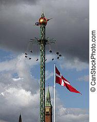 Copenhagen Sky - Fairground fun fair in Tivoli gardens in...