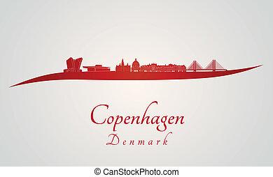 Copenhagen skyline in red and gray background in editable ...