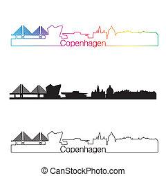 Copenhagen skyline linear style with rainbow in editable vector file
