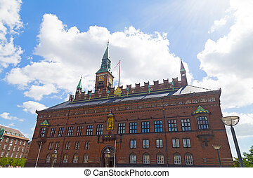 Copenhagen Town Hall building in summer, Denmark.