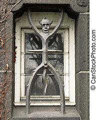 copenhagen;, ville, diable, danemark, fenêtre, grille, salle