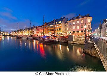 copenhague, canal., danemark, nyhavn