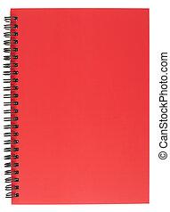 coperchio, blocco note, spirale, rosso, limite