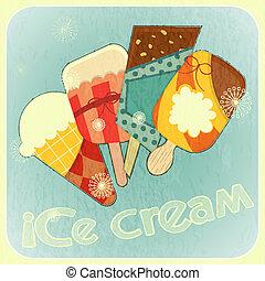 coperchio, gelato, menu, retro