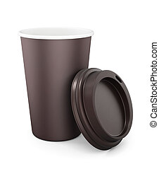 coperchio, mockup, tazza disponibile, rendering., fondo., bianco, design., aperto, tuo, 3d