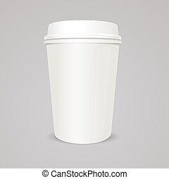 coperchio, tazza caffè, carta, vettore, vuoto