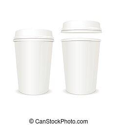 coperchio, tazza caffè, set., carta, vettore, vuoto