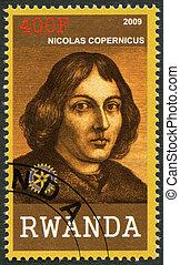 copernic, 2009:, environ, (1473-1543), timbre, -, rwanda, république, imprimé, nicolaus, portrait, 2009, spectacles