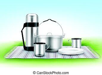 coperta, picnic, tableware