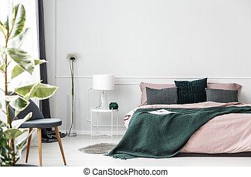 coperta, verde, letto