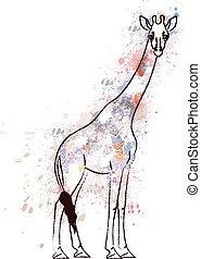 coperto, giraffa, grunge, schizzi, colorito