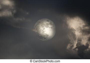 coperto, luna, pieno