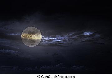 coperto, luna, pieno, notte