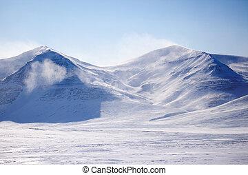 coperto, neve, montagna