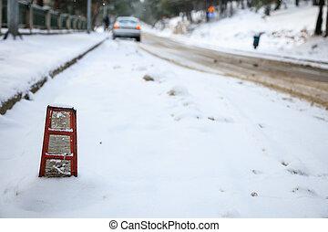 coperto, neve, strada