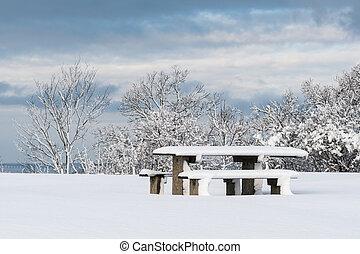coperto, posto, neve, riposare