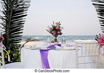 coperto, riva, mare, tavola