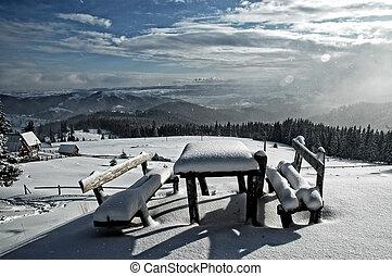 coperto, tavola, panche, neve