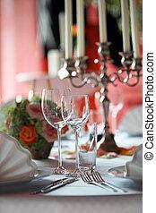 coperto, tavola, ristorante