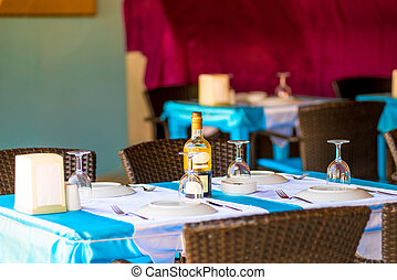 coperto, tavoli, ospiti, ristorante