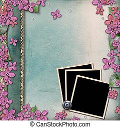 copertura album, con, legno, cornici, lilla
