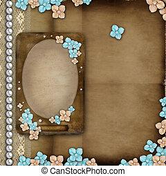 copertura album, con, vendemmia, cornice, fiori, laccio, perle