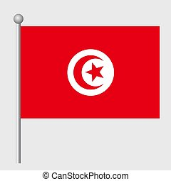 copia, fondo, sagoma, realistico, bandiera, vettore, tunisia