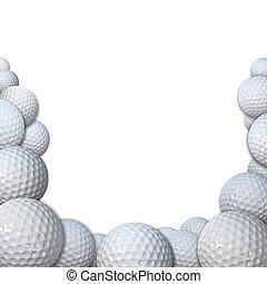copia, golf, espacio, muchos, deportes, golfballs, frontera