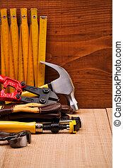 copia, herramientas, trabajando, espacio