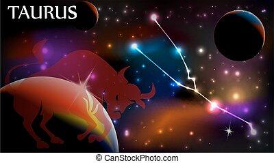 copia, segno, astrologico, toro, spazio