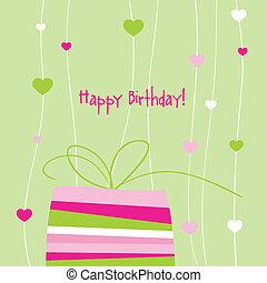 copia, tarjeta, cumpleaños, espacio