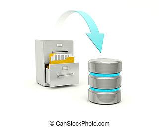 copiar archivos, de, archivo, a, datos, base