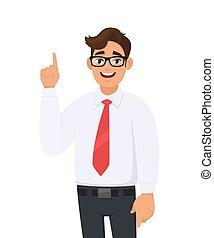 copie, arrière-plan., humain, annonce, doigt, portrait, dessin animé, main, something., haut, jeune, réussi, espace, indice, produit, homme affaires, illustration, introduire, pointage, émotion, concept, blanc