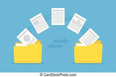 copie, fichiers, échange, fichiers, backup., transfer., ...
