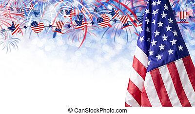 copie, fond, espace, drapeau, américain, autre, 4, feud'artifice, juillet, bokeh, jour, indépendance, célébration