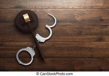 copie, juge, justice, lay., corrompu, court., concept, plat, fond, sommet, juge, punition, bois, vue, menottes, espace, marteau