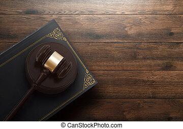 copie, livre, lay., justice, corrompu, court., concept, plat, fond, sommet, juge, punition, bois, vue, juge, espace, marteau