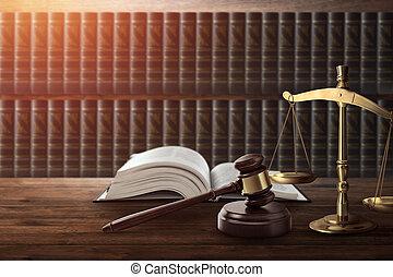 copie, livre, table., justice, marteau, corrompu, court., juge, punition, bois, droit & loi, juge, espace, concept