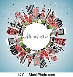 copie, space., ville, new hampshire, manchester, bâtiments, ...