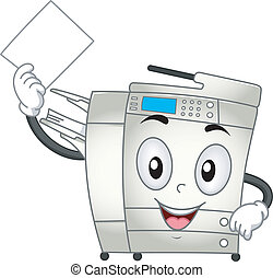 Mascot Illustration Featuring a Copier Making Copies of a Document