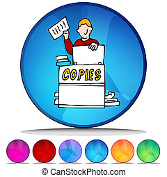 Copier Shiny Button Set - An image of a copier shiny button...