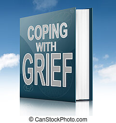 Illustration depicting a book with a grief concept title. Sky background.