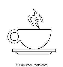 copo, bebida café, esboço, quentes