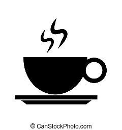 copo, bebida café, quentes, pictograma