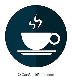 copo, bebida café, sombra, quentes